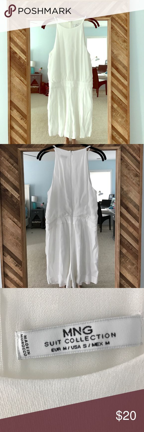 1 DAY SALE Mango Suit Collection Romper size S MNG Suit Collection white romper in size small. This romper is so cute on! On the hanger it doesn't look like much but when actually on it is so cute!! This romper has pockets and zips up the back. Size small Mango Other