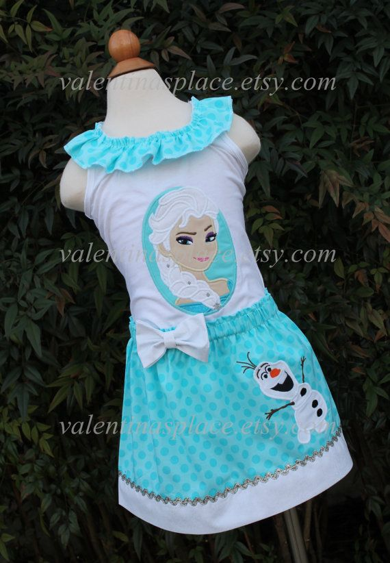 Super Adorable FROZEN'S Elsa and Olaf set of shirt and skirt on Etsy, $62.00