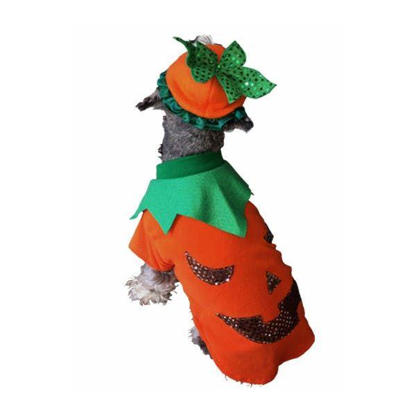 Diviértete disfrazando a tu peludo! Con este disfraz de calabaza, tu perro esta listo para halloween!