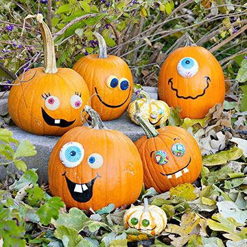 Are you the parent of some littles who love decorating pumpkins, but aren't old enough to carve? Use paint to create silly faces! For more kids' pumpkin fun, check out: http://www.pumpkinmasters.com/kids-carving.asp.