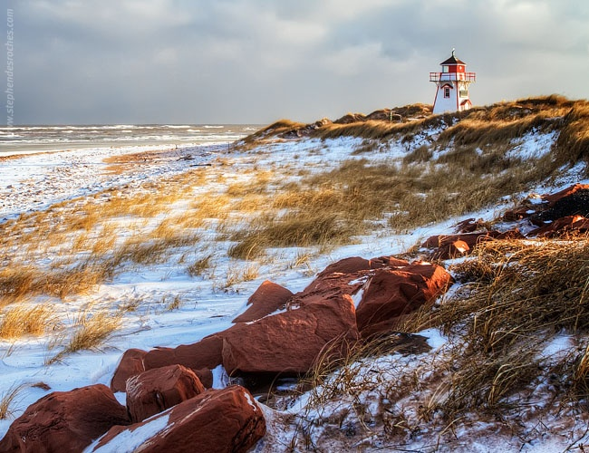 Covehead Lighthouse with light snow.
