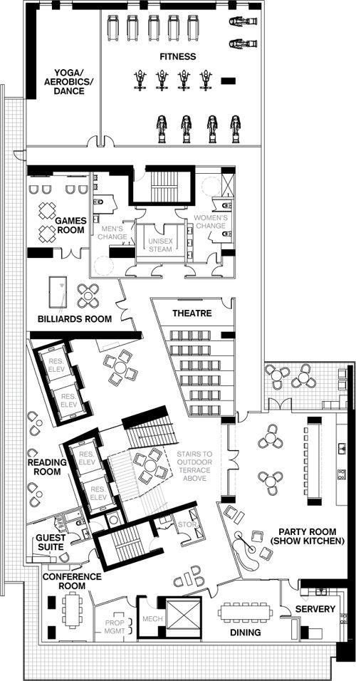 Room Design Floor Plan: Tableau Condos Amenity Space, 4th Floor Plan, Toronto