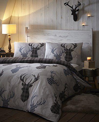 Tartan Check Stag Rein Deer Duvet Quilt Cover Double Bedding Bed Set Grey Black