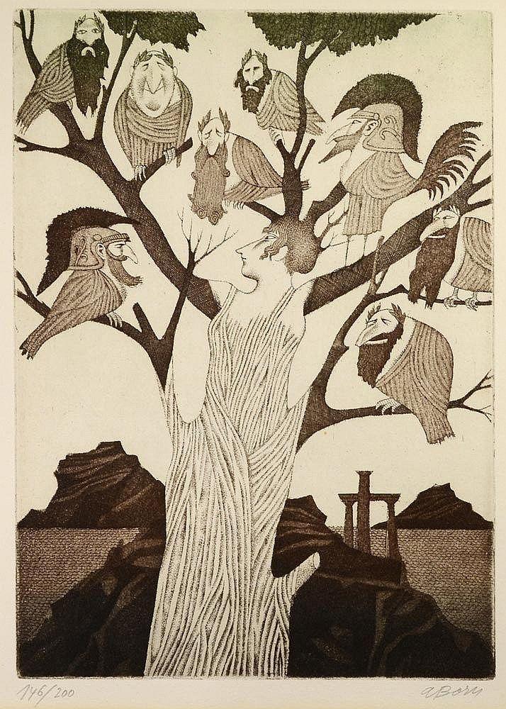Adolf Born (Czech, born 1930) Tree (Antiquity), N/D Etching on paper, 33 x 23,7 cm