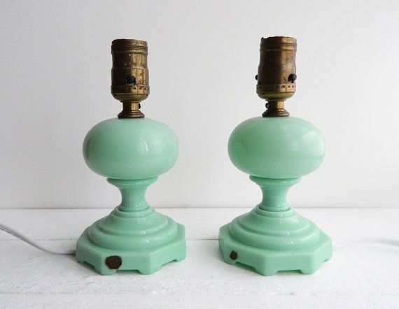Antique Jadite Glass Table Lamps  Working by UpHome on Etsy, $275.00