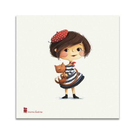 Original cuadro con niña francesa para decorar la habitación de los niños. Incluye colgador