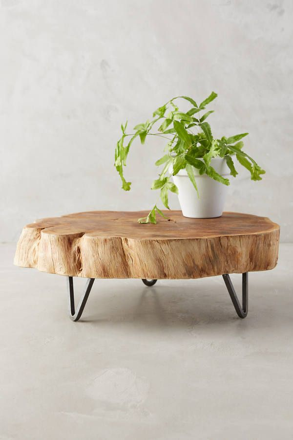 Anthropologie Footed Wood Slab Tray