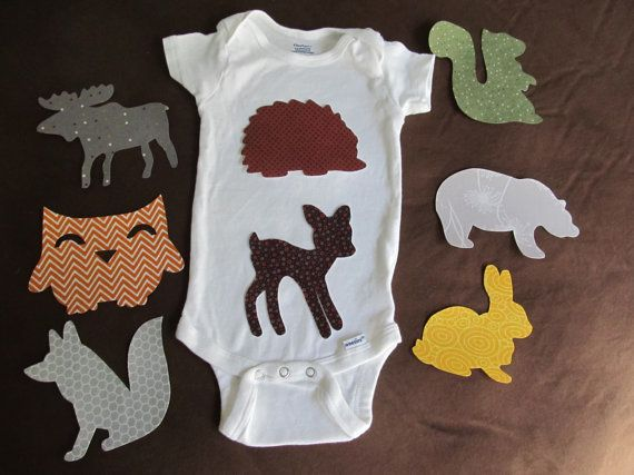 Woodland baby shower onesie making kit for onesie station - includes 8 iron on appliques