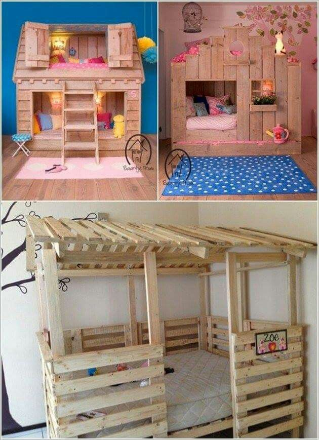 Pallet playhouse beds. But you could leave the bed frame out and have a playhouse.