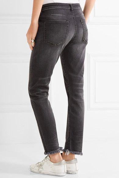 R13 - Boy Skinny Frayed Mid-rise Slim Boyfriend Jeans - Charcoal - 30