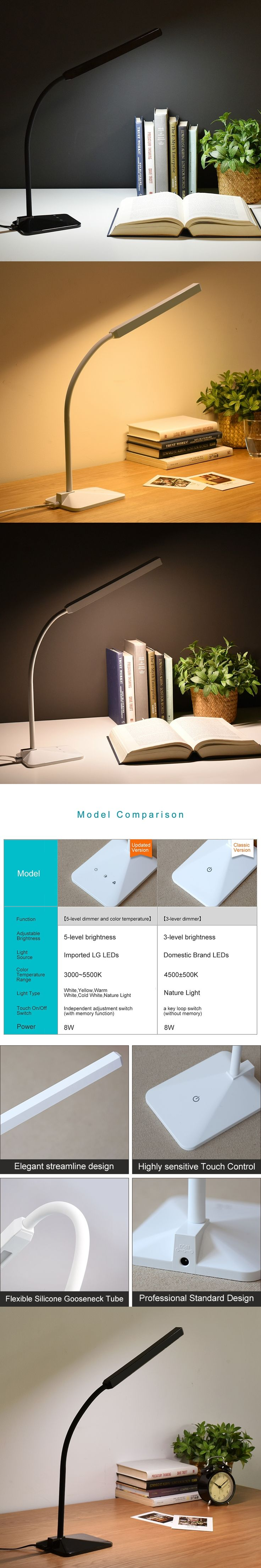 Minimalism LED Desk Lamp Adjustable Gooseneck Table Dimmable Office Study Bedroom Bedside Reading Touch