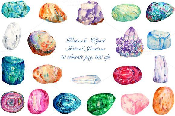 Watercolor Natural Gemstones by Corner Croft on Creative Market?u=chengjing