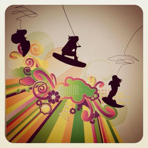 My illustration of wakeboarding girls