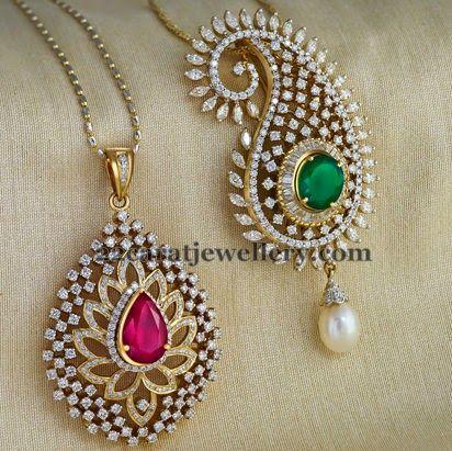 Jewellery Designs: Paisley Design Diamond Lockets
