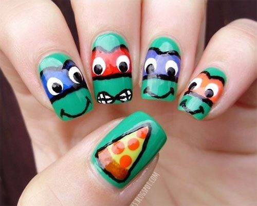 20 Teenage Mutant Ninja Turtles Nail Art Designs, Ideas & Stickers 2014 | TMNT Nails haha! Pizza!