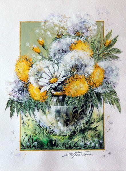 Картины - Графика - Букетик одуванчиков (Бумага, акварель, карандаш, перо)