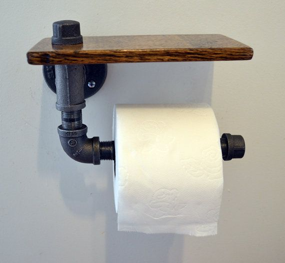 Reclaimed Wood and Pipe Toilet Paper Holder - Multiple Finishes
