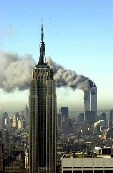Empire State Building and World Trade Center during the attacks on September 11th
