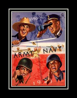 Vintage 1943 Army Navy Football Program Wall Decor.  This ready-to-frame wall art is printed to order on heavyweight semi-gloss photo paper. It is then inserted into a 100% archival safe, acid-free clear sleeve. Lastly, it is carefully packaged in a flat mailer to ensure safe delivery.  Buy with confidence. I stand behind everything I sell. If you are not satisfied with any aspect of your purchase please let me know so I can resolve your unmet expectations.  Items are usually shipped within…