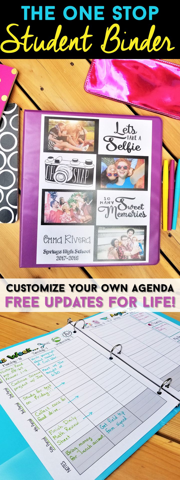 Student Binder Organization at its BEST! The One Stop Student Binder is a Student Agenda, Student Organizer, Student Planner that will keep students of ANY age organized! Filled with Weekly Agenda Pages, Calendars, Fun and Useful Forms, and so much more! Customize a Cover for ANY theme! FREE Updates for Life! | Student Planner | Student Agenda | High School Student Planner | Middle School Student Planner | Elementary Student Planner | Student Binder Organization