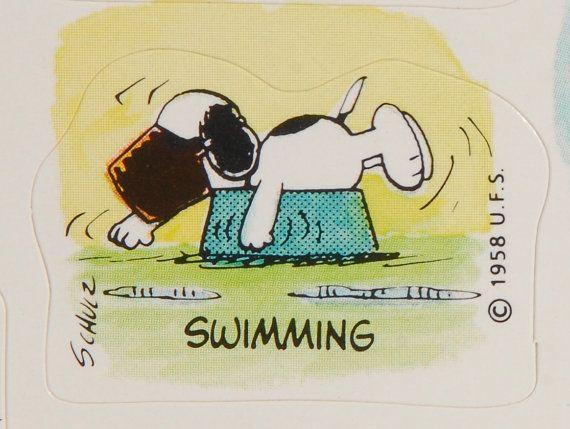 Snoopy swimming, vintage sticker.