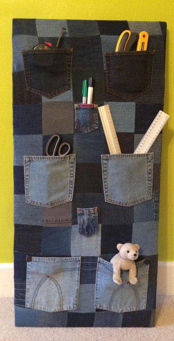 Vintage denim patchwork pocket storage wall unit nursery/playroom shelving/teenage bedroom