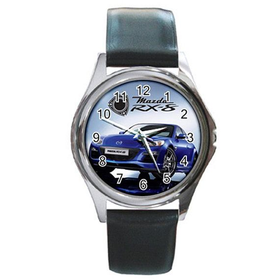 New Leather band Mazda RX 8 Car Round Metal Watch by isaaturbrian