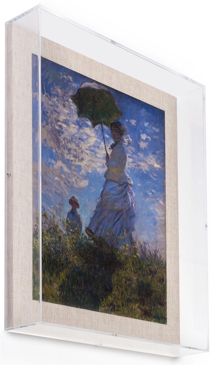 16 X 20 Wall Mounted Exhibit Case W Linen Backing Acrylic Vitrine Tan Art Display Frames On Wall Art Stand