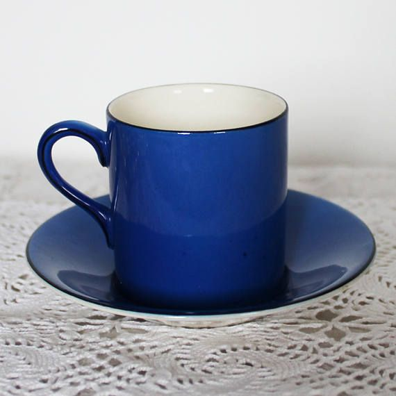 Antique Art Deco Azure Blue English Coffee cup and saucer