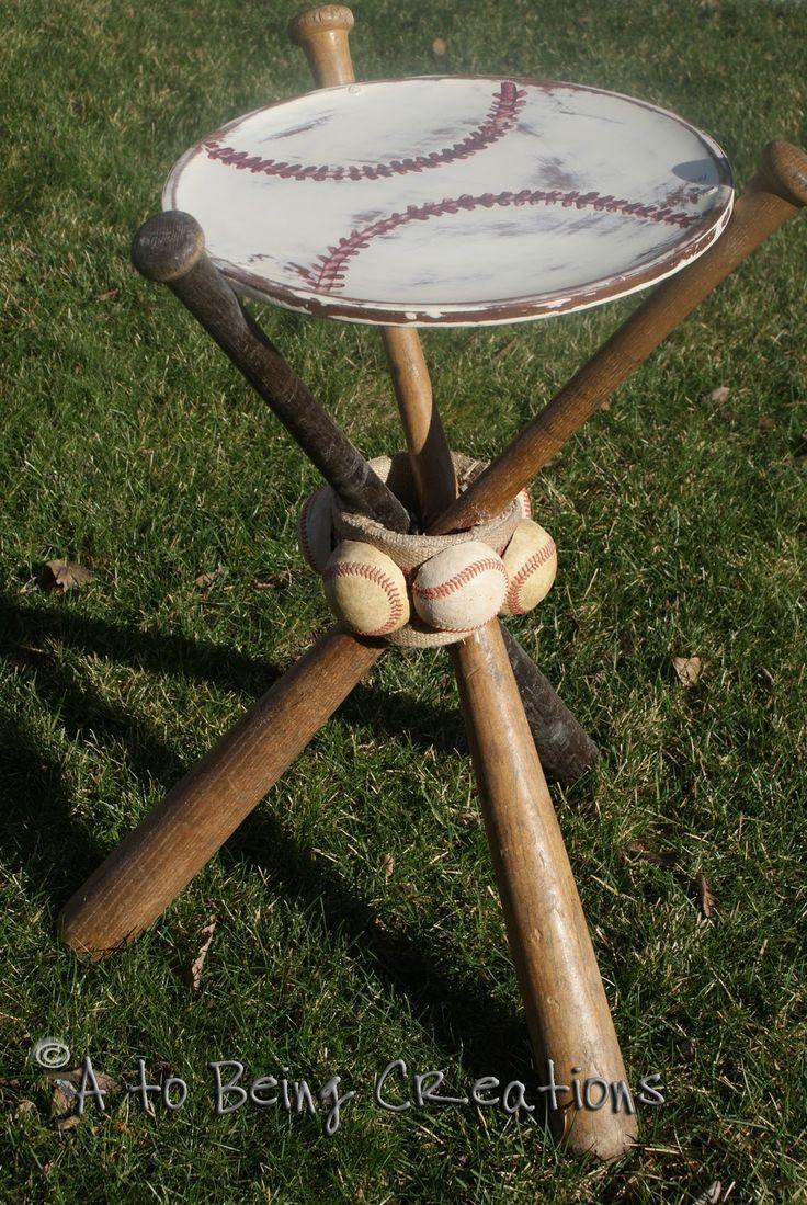 baseball bat nightstand.: Side Table, Idea, Man Cave, Baseball Table, Baseball Bats, Night Stands, Boys Room, Boy Room