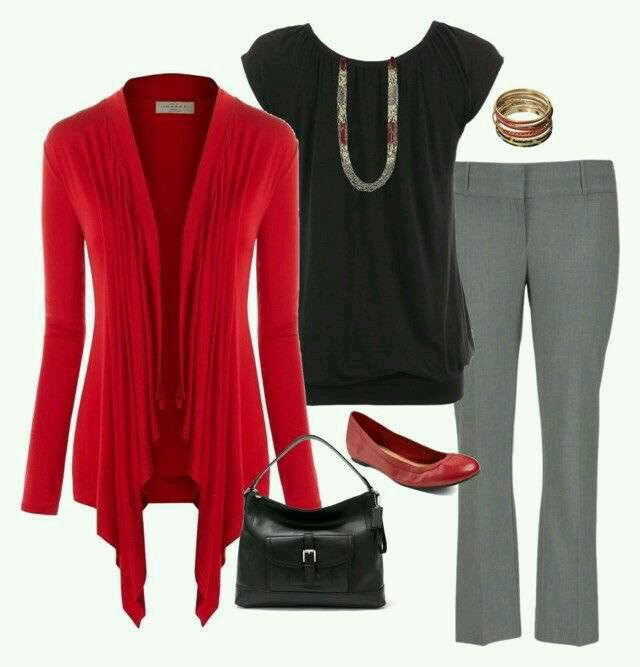 Cute. Red cardigan really gives a nice pop of color.