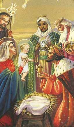 Wise Men present gifts of Gold, Frankinsence, and Myrrh to the infant Jesus, the Promised Messiah whose Star they had been following.