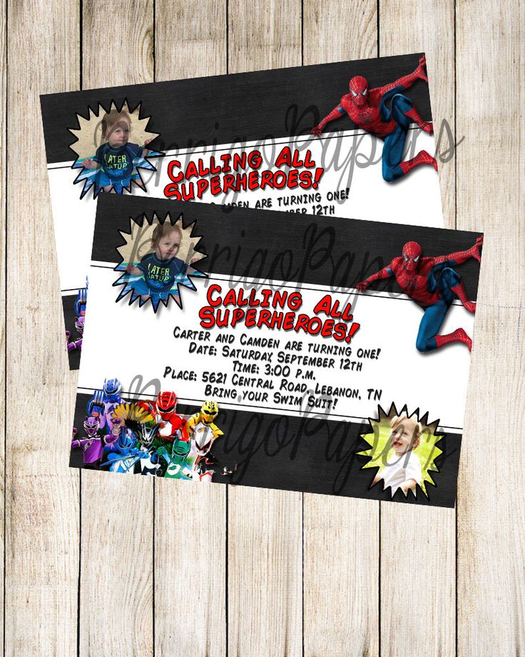 indianjones birthday party invitations%0A Digital Spiderman and Power Rangers Jungle Fury   Twin   Photograph Picture    Sibling   Double    Double Birthday PartiesPower