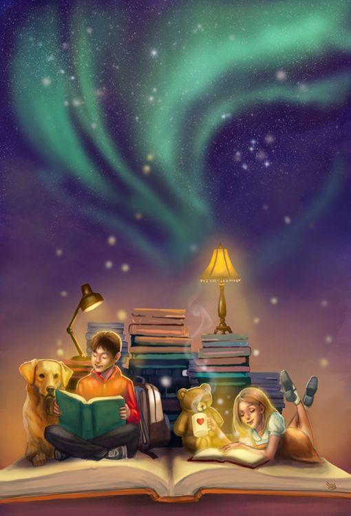 another world - children reading - dog - teddy bear - BOOKS - ILLUSTRATIONS - art