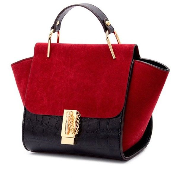 Metal Color Block Splicing Tote Bag (39 CAD) ❤ liked on Polyvore featuring bags, handbags, tote bags, metal purse, color block purse, colorblock handbags, red purse and red handbags