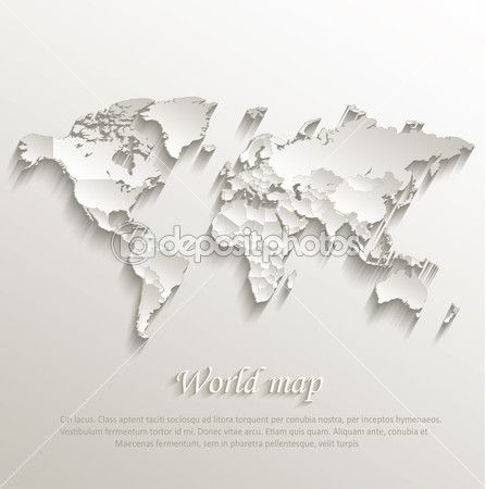 World political map card paper 3D natural vector individual states separate — Stock Illustration #49764629