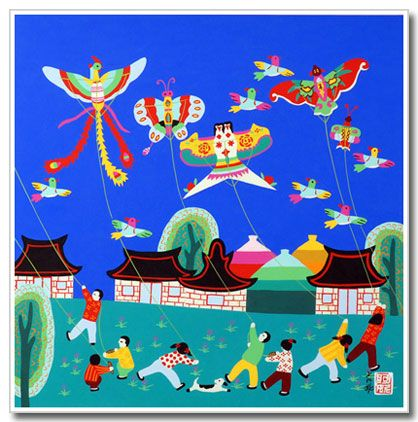 Original Chinese peasant painting, folk art, kids, kites