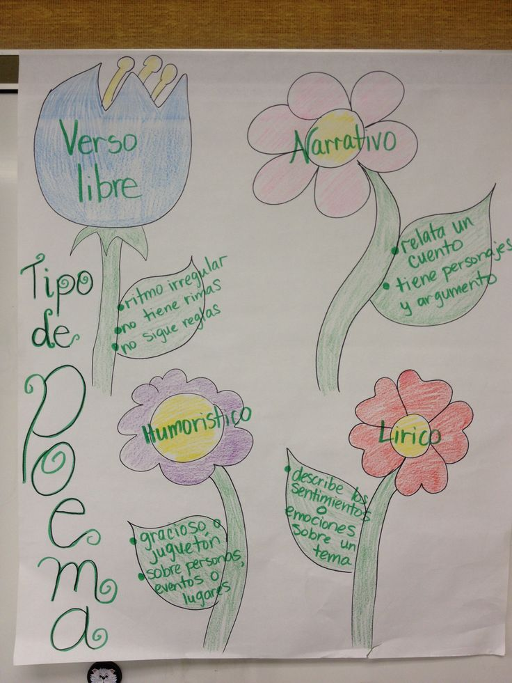 Spanish anchor charts- Forms of poetry