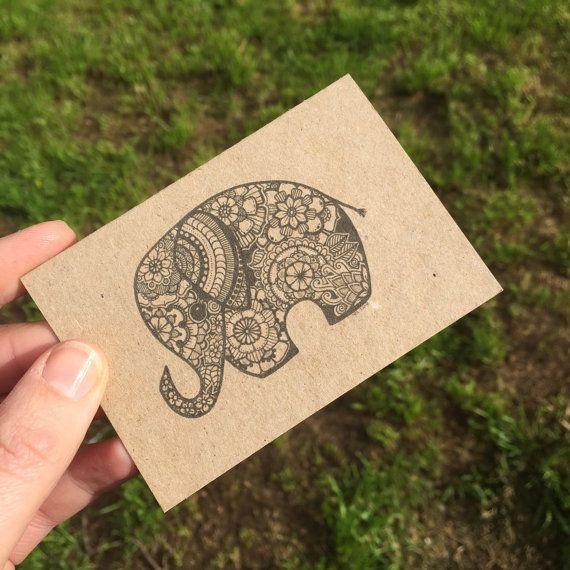 Zentangle Elephant mini greeting card with by MelindaJaneArt