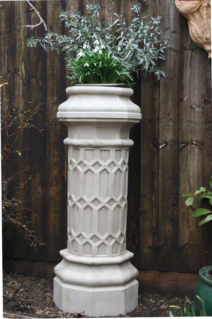 Limestone chimney pot planter
