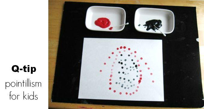 Q-Tip Pointillism Art Activity for Kids