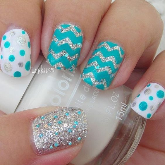 Attractive Polka Dots and Cheveron Nail Art