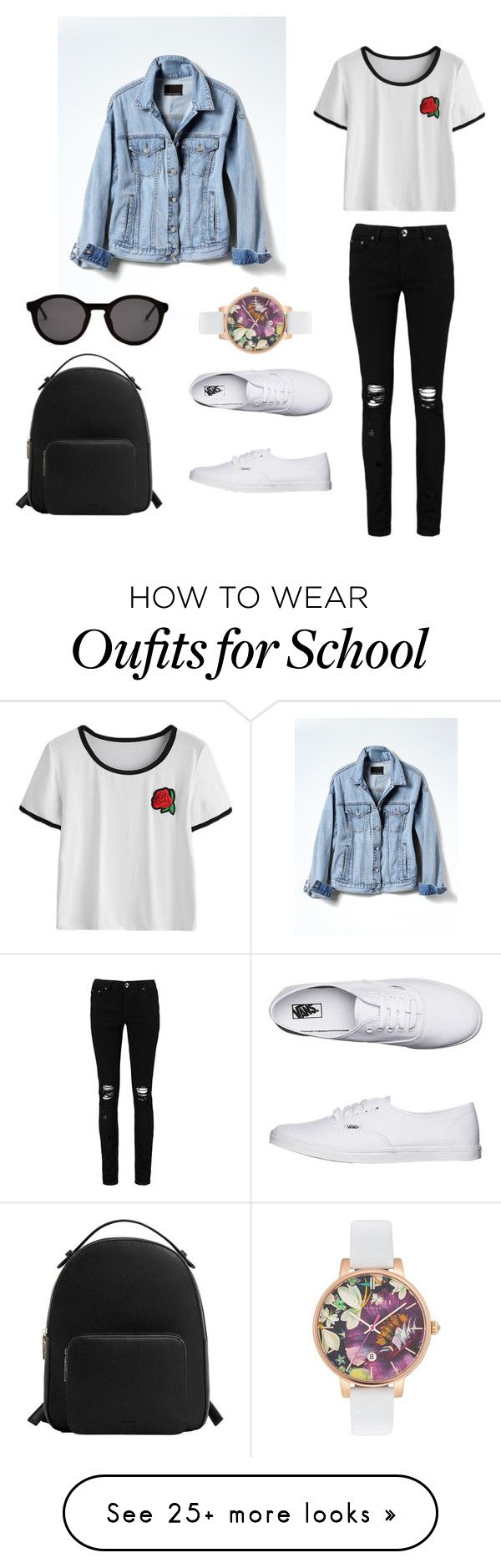 """school day"" by elina-kreuz on Polyvore featuring Boohoo, Banana Republic, Vans, MANGO, Ted Baker and Thierry Lasry"