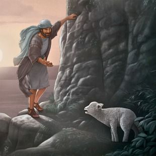 A shepherd makes his way up a mountain slope to find a lost sheep