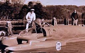 Donald Campbell on Lake Coniston in the Bluebird. He was the first man to hold both the world land speed and water speed records together in 1964 but he was fated in 1967 when he crashed during a record attempt on Lake Coniston to exceed 300mph on water
