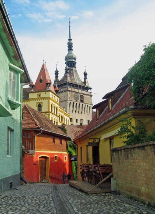 Sighisoara, Romania. A great place to explore in the moonlight, except its the birthplace of Vlad Dracul.