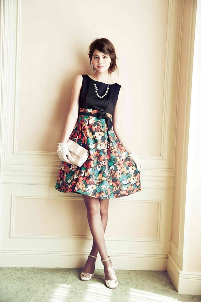 Black + floral knee length dress