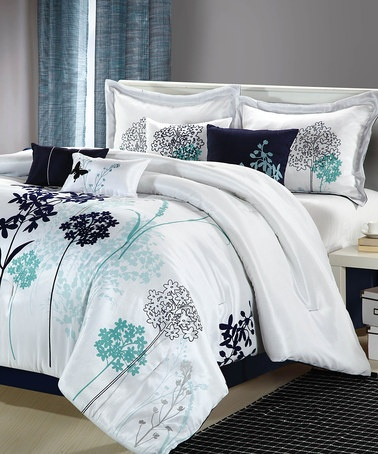 White & Blue Clara Comforter Set by Chic Home Design