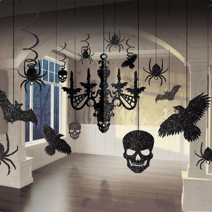 Halloween Deckenhänger-Set Schwarz-Glitzer 17-tlg.