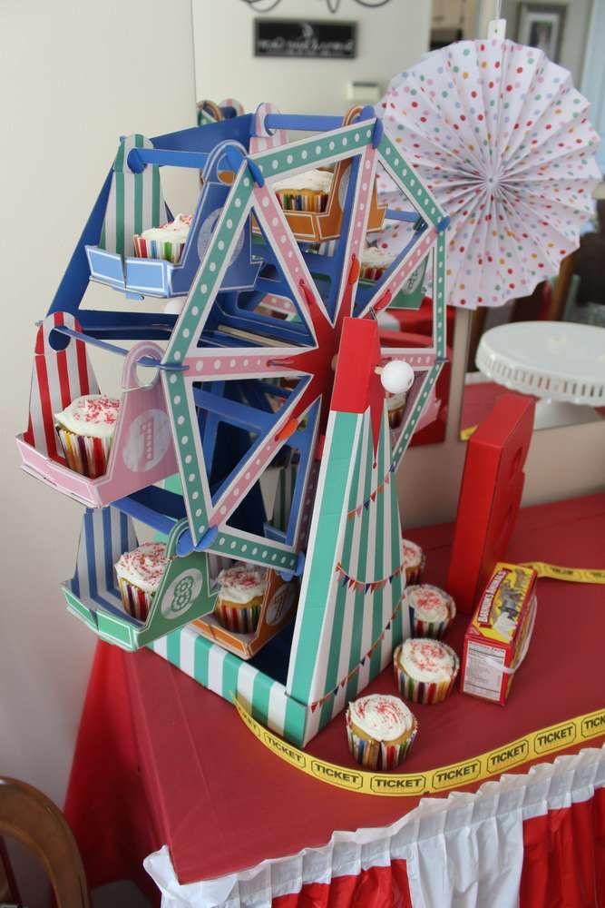 Fun Ferris wheel at a circus birthday party! See more party planning ideas at CatchMyParty.com!